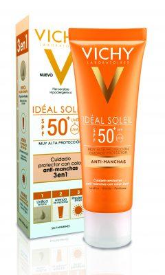 Anti-manchas Ideal Soleil con color de Vichy. SPF 50. 22 €