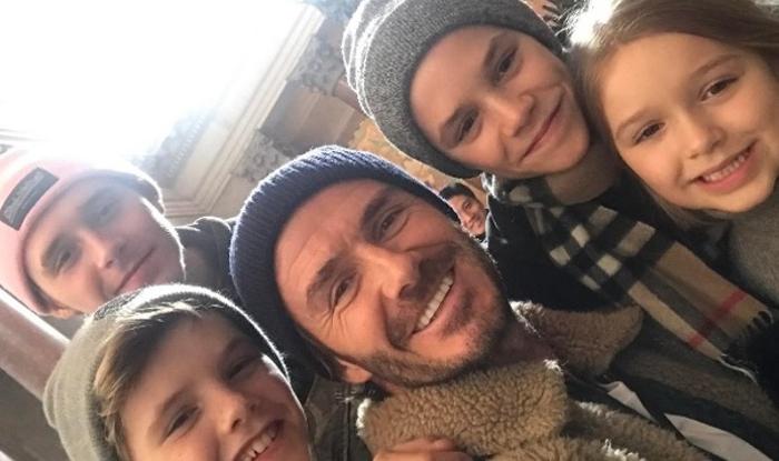 David Beckham olvida sus problemas junto a sus hijos
